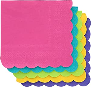Scalloped Edge Cocktail Napkins (5 x 5 In, 5 Colors, 200-Pack)