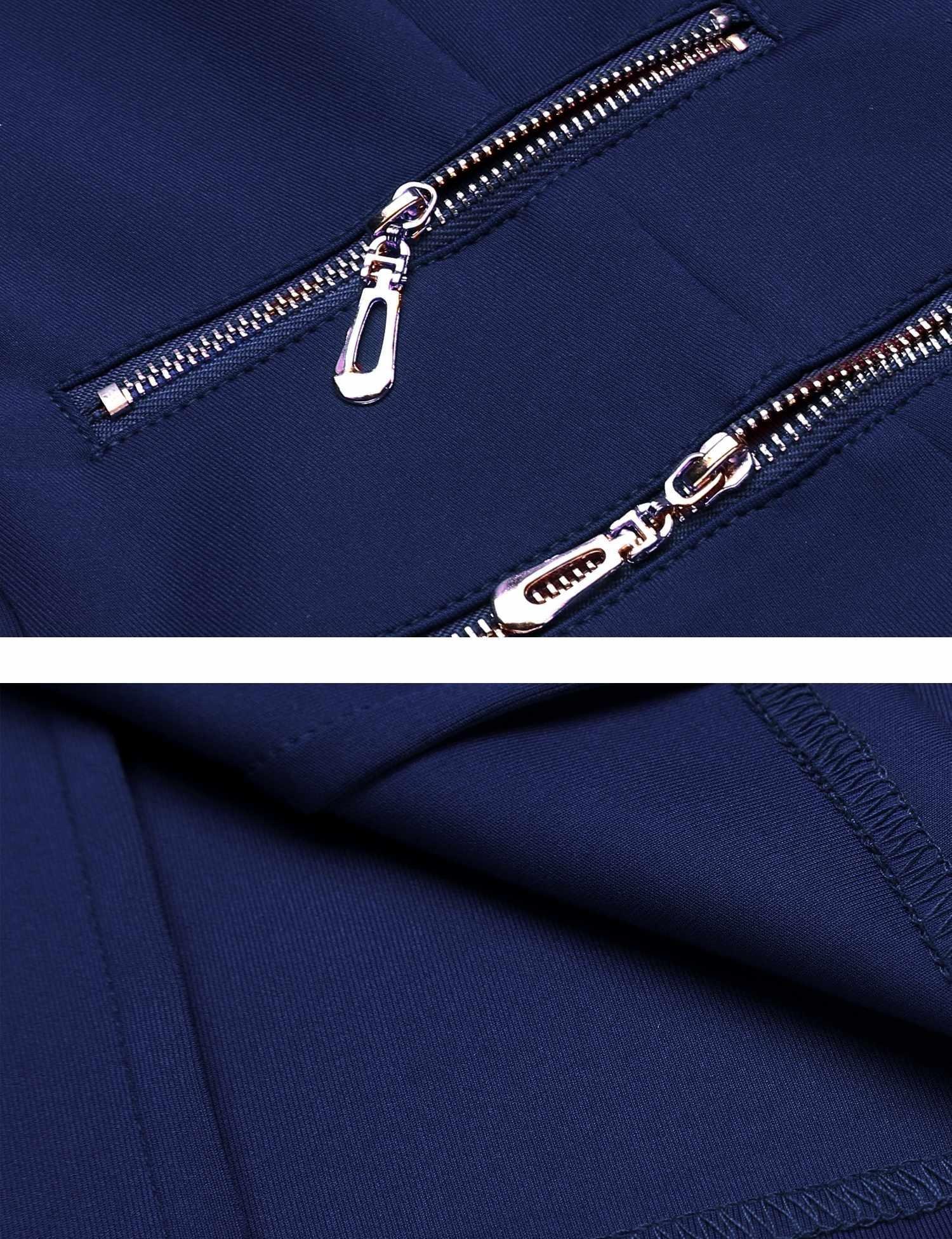 Zeagoo Women's Casual Zipper Cardigan Blazer O Neck Slim Fitted Office Jacket (L, Navy Blue) by Zeagoo (Image #7)