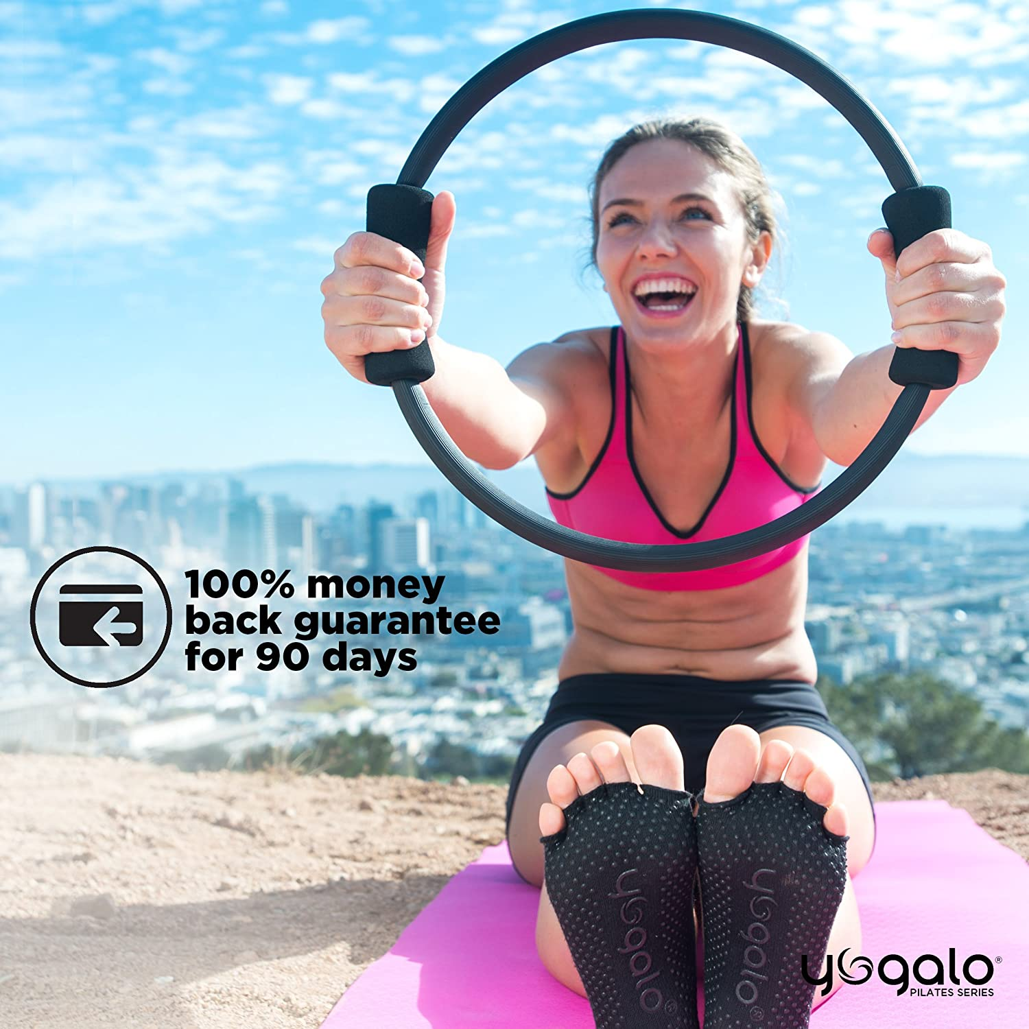 Power Resistance Exercise Circle Strength Flexibility Thigh Toner Yogalo Pilates Series Pilates Ring Sculpting 14 Inch Dual Grip Ring Fitness Magic Circle Toning