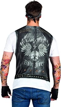Amazon.com: Faux Real Men\'s Biker Tee with Tattoo Mesh Sleeves ...
