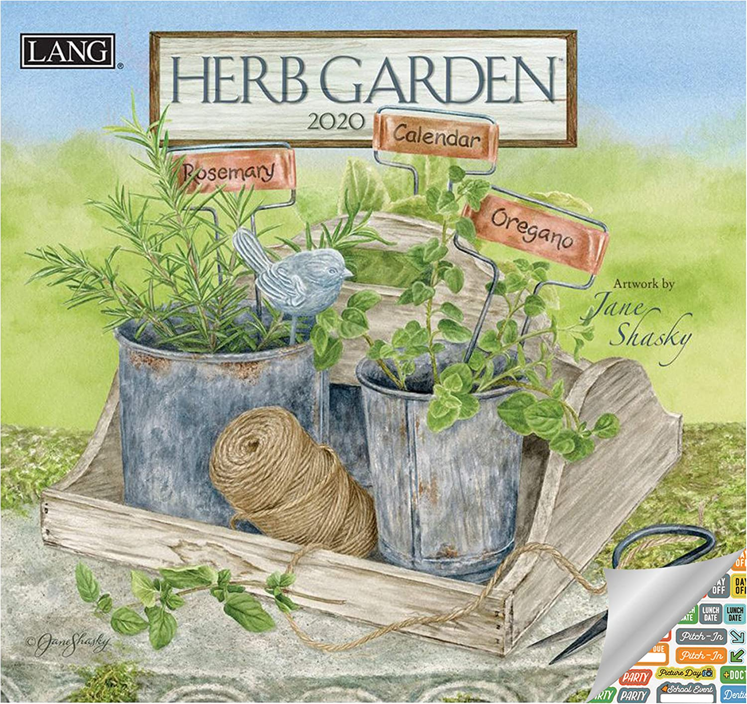 Lang Herb Garden Calendar 2020 Herb Garden Wall Calendar Bundle with Over 100 Calendar Stickers