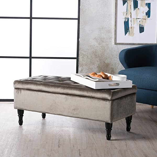 Christopher Knight Home 300698 Living Constance Tufted Top Fabric Storage Ottoman (Grey),