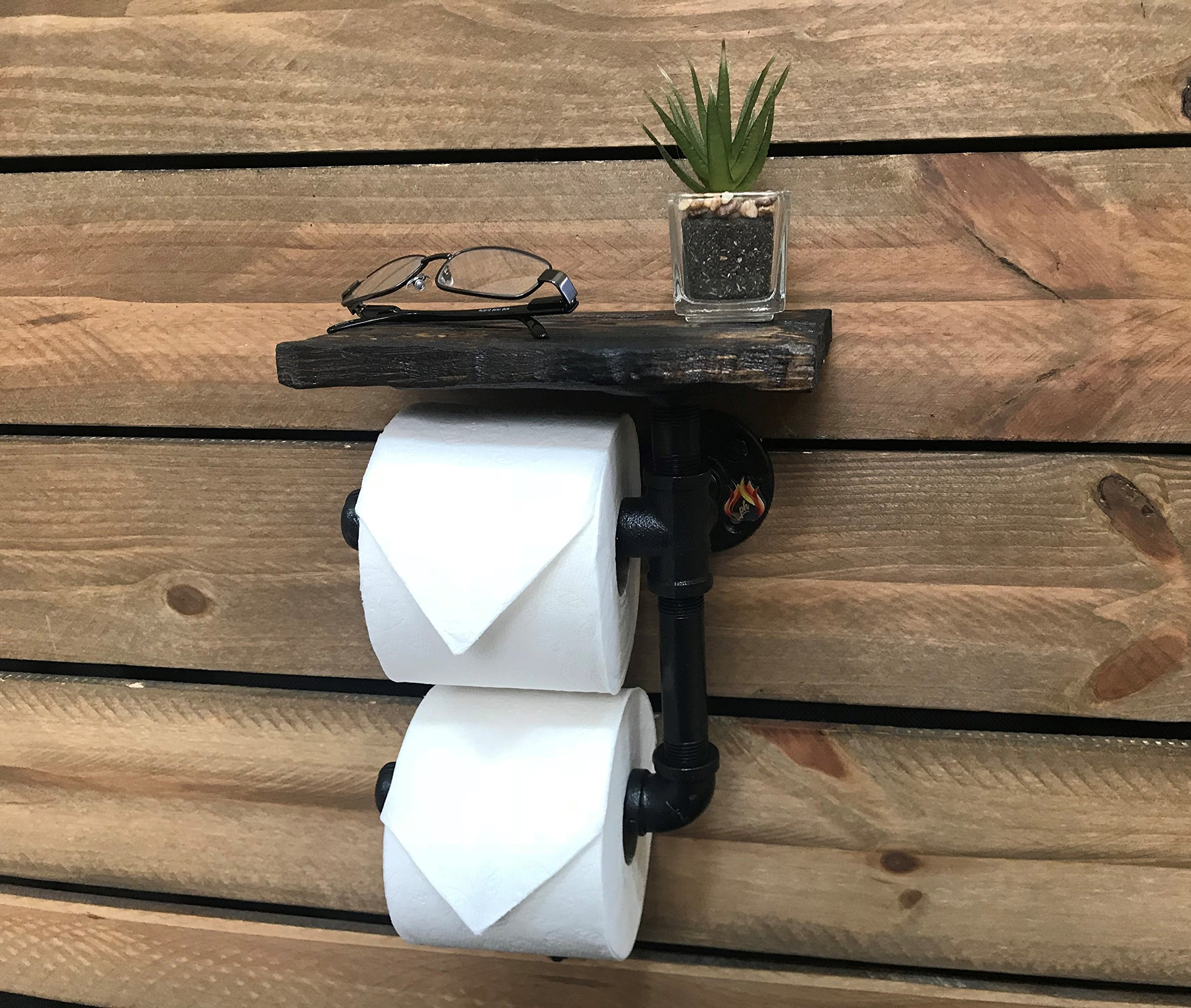 Toilet Paper Holder Shelf for Mobile Phone Storage in Bathroom with 5 Color Options (Dark Walnut) by Piping Hot Art Works (Image #4)