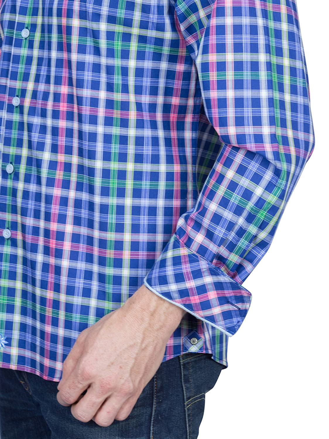 6d534470 Thaddeus Frank Men's Plaid Long Sleeve French Button Down Cotton Shirt with  Cutaway Collar, Bright Blues, L at Amazon Men's Clothing store: