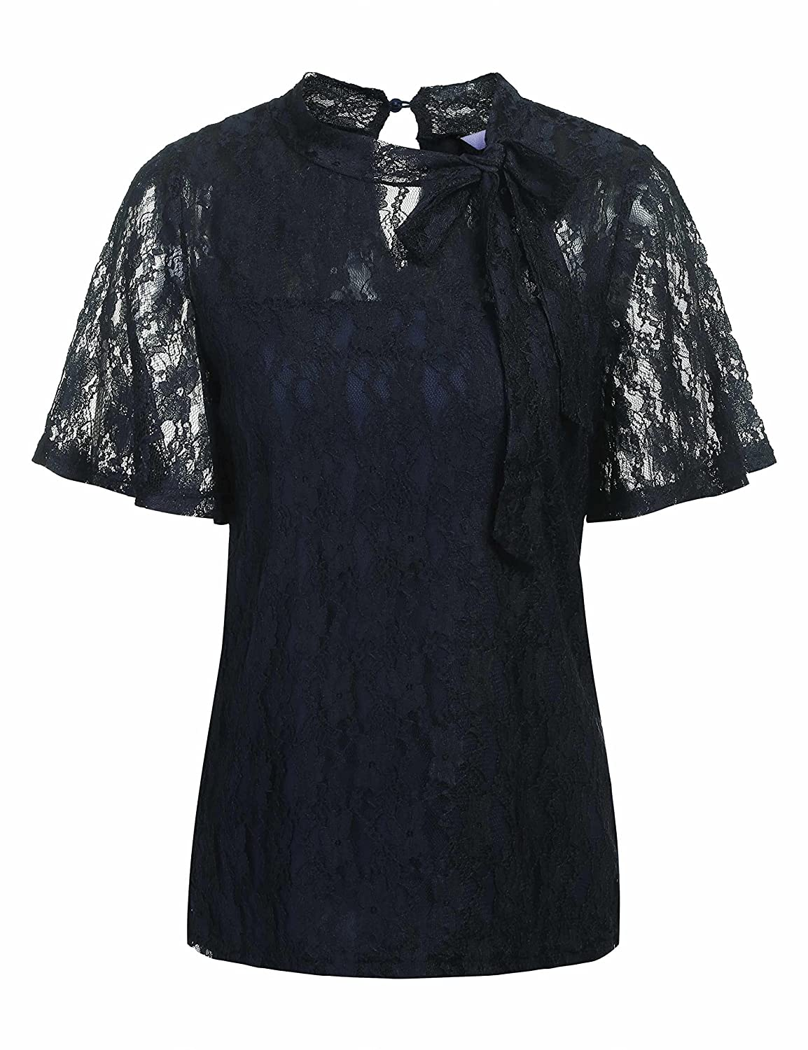 77320351b920 Sexy + Elegant Lace Shirt Design  The see through floral lace patchwork +  elegant bow knot necktie can provide you a special dual experience