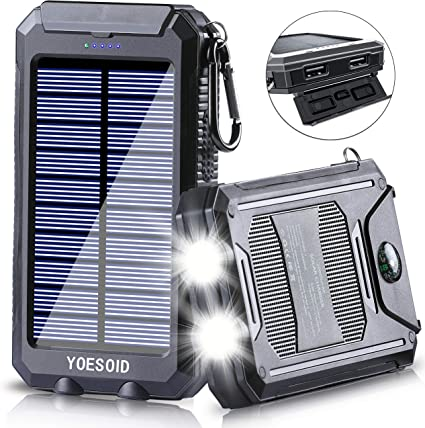 Solar Charger 20000mAh YOESOID Portable Solar Power Bank with Dual USB Output Waterproof External Battery Pack Compatible Most Smart Phones, Tablets ...
