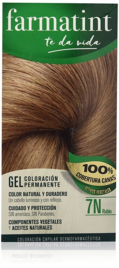 Farmatint Gel 7N Rubio. Tinte permanente. Cabello natural y color duradero. Sin amoníaco