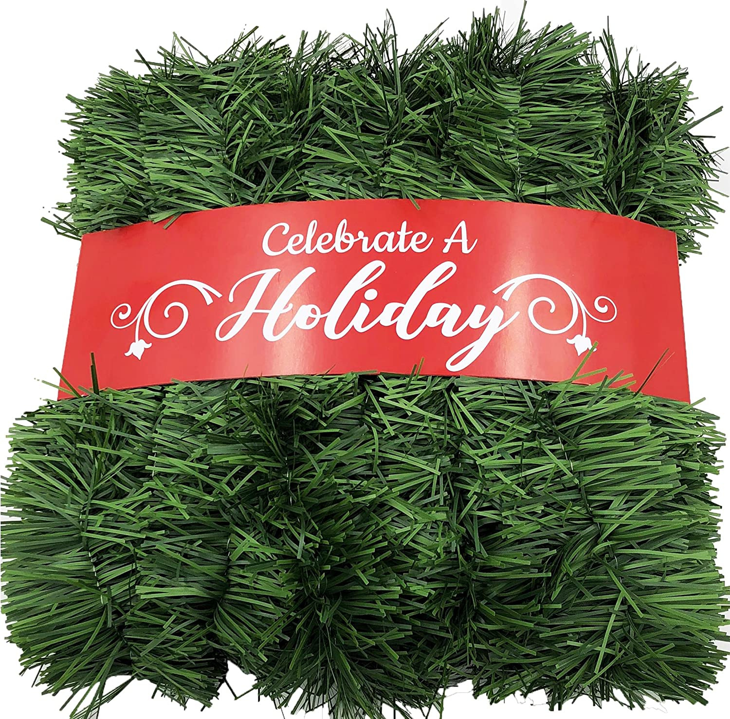 50 Foot Garland for Christmas Decorations - Non-Lit Soft Green Holiday Decor for Outdoor or Indoor Use - Premium Quality Home Garden Artificial Greenery, or Wedding Party Decorations Celebrate A Holiday