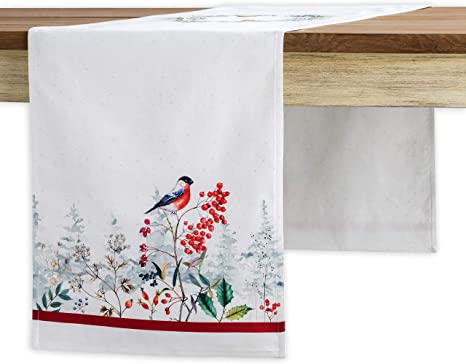 Home 14.5 Inch by 72 Inch Thanksgiving//Christmas Dinner Holidays Maison d Hermine Amarante 100/% Cotton Table Runner for Party Double Layer Kitchen