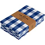 Urban Villa Kitchen Towels, Premium Quality, 100% Cotton Dish Towels,Mitered Corners, Ultra Soft (Size: 20X30 Inch), Blue/White Highly Absorbent Bar Towels & Tea Towels - (Set of 6)