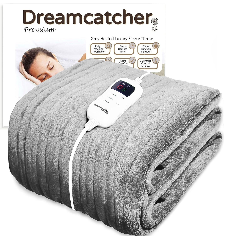 Dreamcatcher Luxurious Electric Heated Throw, Supersize 200 x 130cm Soft Fleece Grey Throw Blanket, Large Heated Electric Blanket Overblanket with Timer and 9 Control Heat Settings Futura