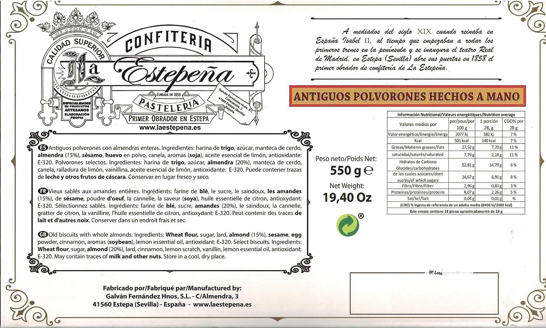 Antiguos Polvorones Hechos a Mano - La Estepeña - 550 Gr: Amazon.es: Alimentación y bebidas