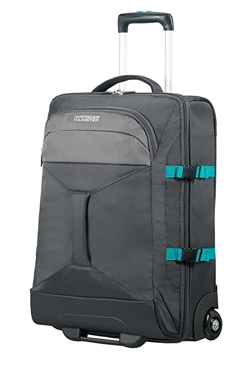 2262cd8cb AMERICAN TOURISTER Road Quest - 2 Compartments Wheeled Duffle 55/20 Travel  Duffle, 55 cm, 40 liters, Grey (Grey/Turquoise)