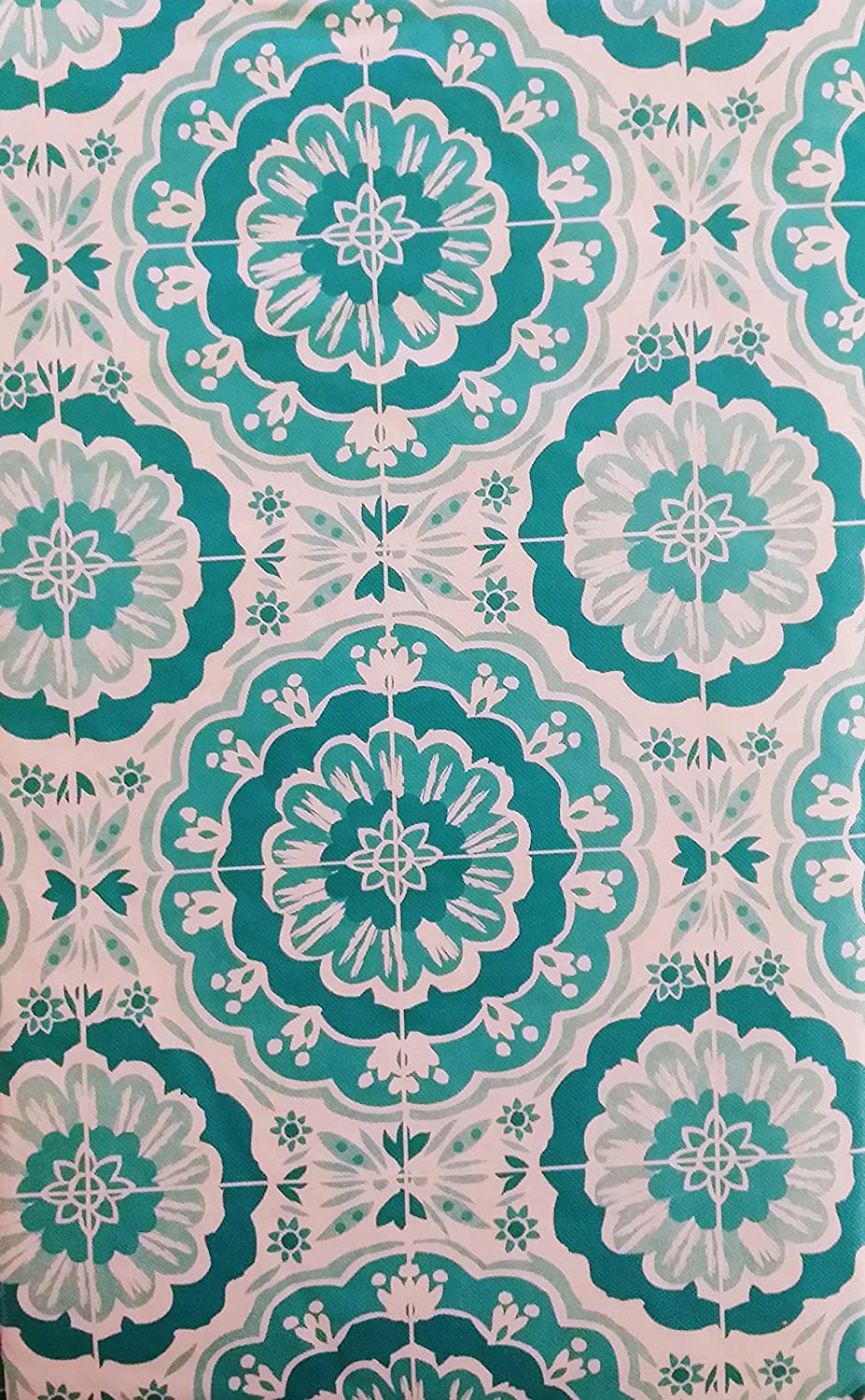 Elrene Home Fashions Bursting Blooms of Color Vinyl Flannel Back Tablecloth 52 x 90 Oblong, Shades of Blue//Teal Various Sizes and Colors