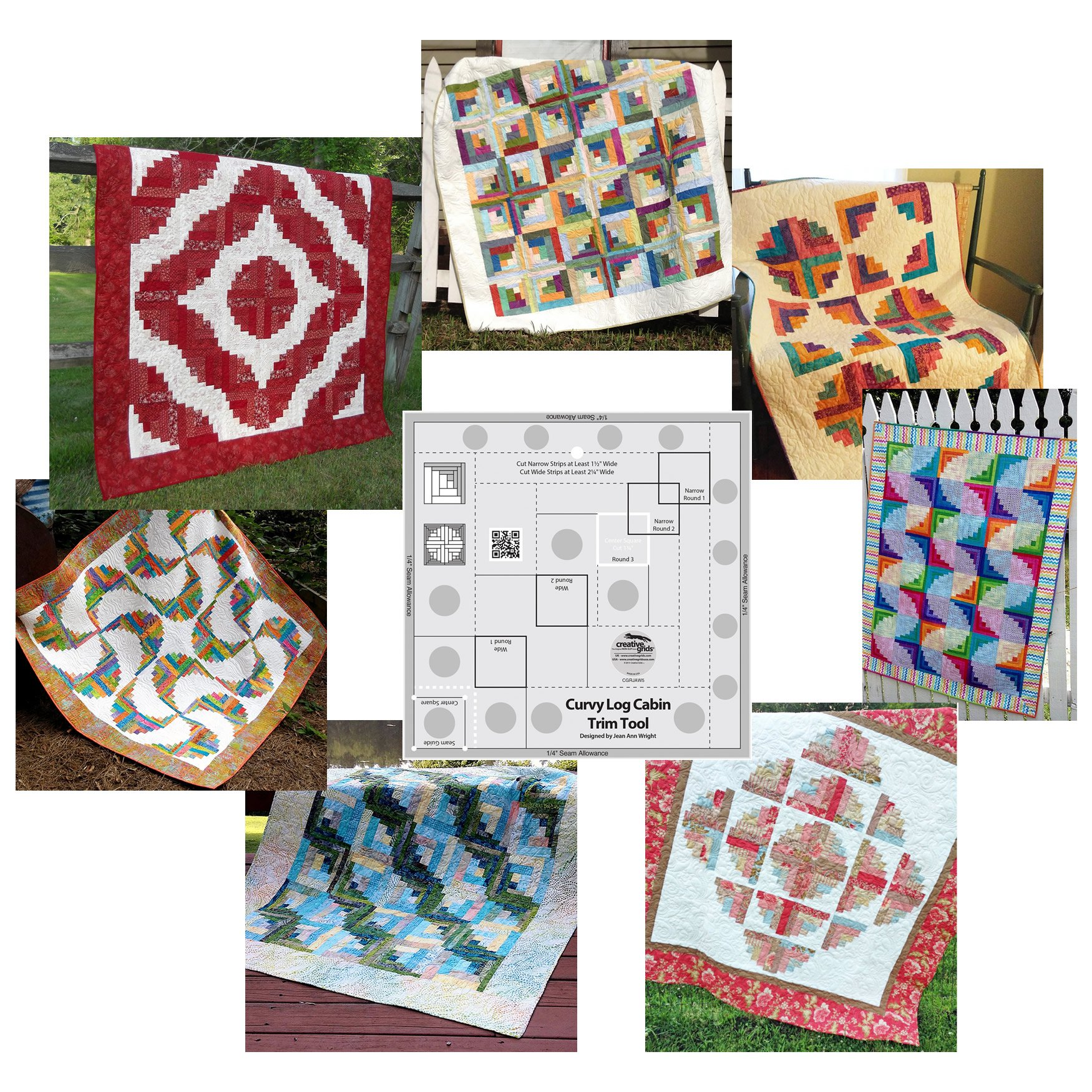 Bundle of Creative Grids Curvy Log Cabin Trim Tool 8in Finished Blocks and Seven (7) Cut Loose Press Curvy Log Cabin Quilt Patterns by Creative Grids USA, and Cut Loose Press