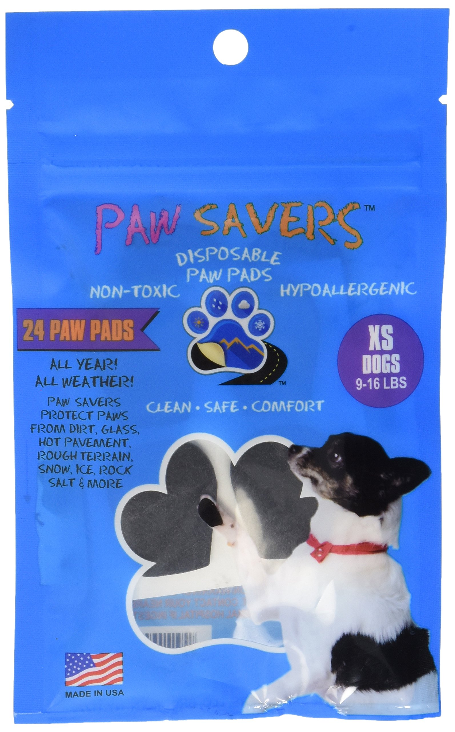 XSmall Paw Savers, Disposable Dog Paw Pads, (9-16 lbs) 24 Pieces