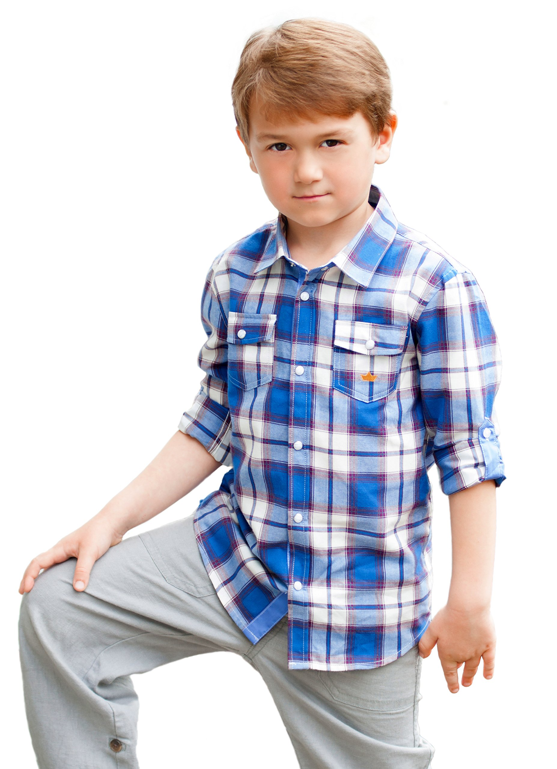 Dakomoda Toddler Boys' 100% Cotton Blue Western Plaid Shirt Roll up Sleeve Snap Shirt with Pockets 2T