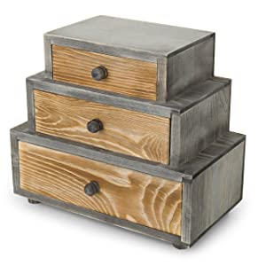 MyGift 3-Drawer Rustic Wood Office Storage Organizer