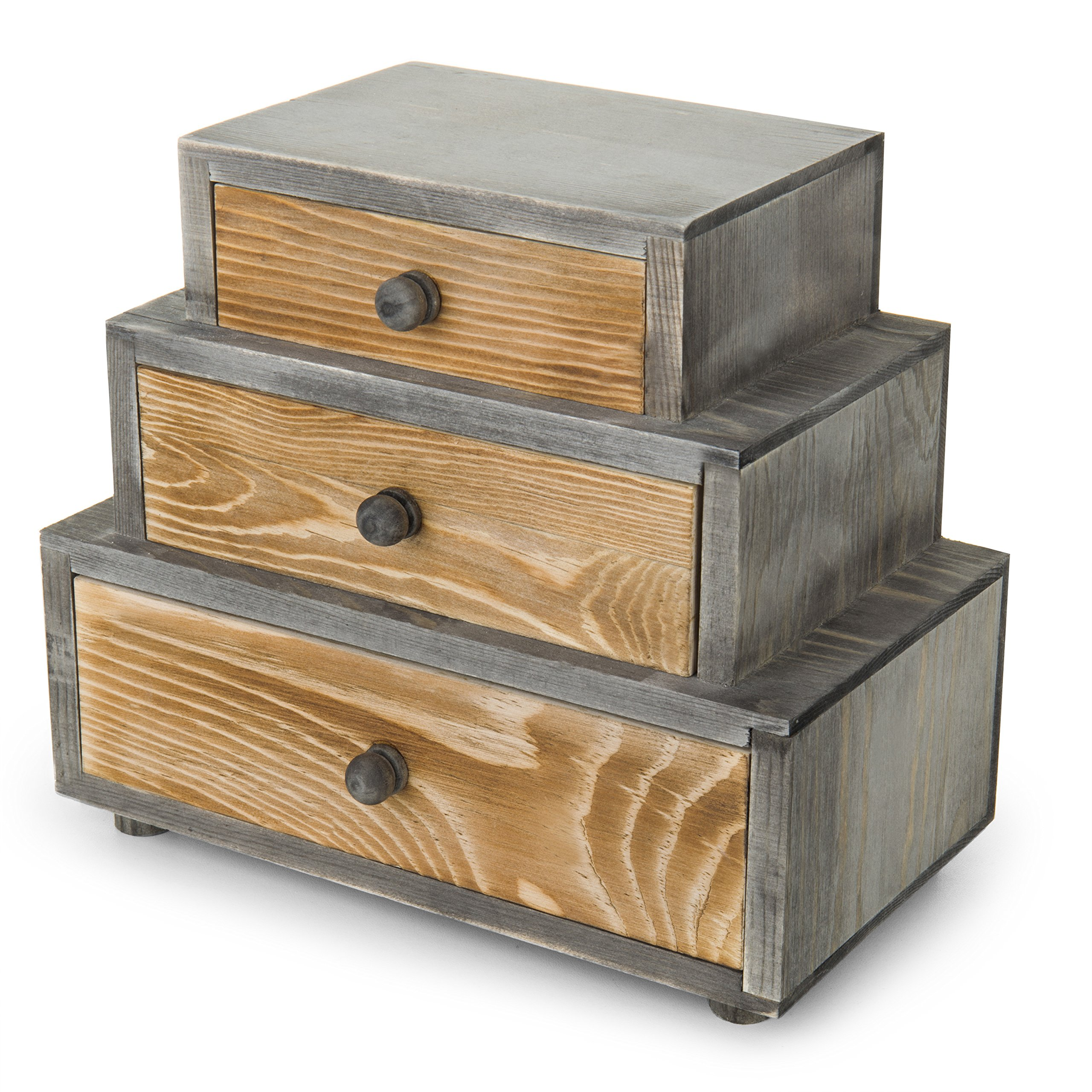 MyGift 3-Drawer Rustic Wood Office Storage Organizer by MyGift (Image #1)
