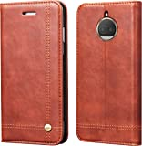 Febelo (™) Professional Design Magnetic Lock Flip Cover Case for Motorola Moto G5s Plus 5.5 inch - (Brown)