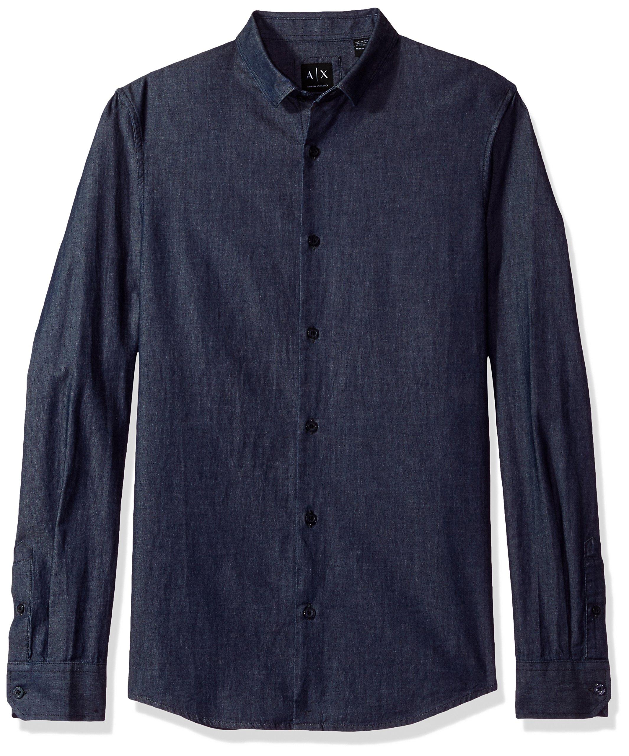 A X Armani Exchange Men's Denim Long Sleeve Collared Button up Reg Fit, Indigo, Large