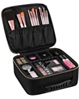 SONGMICS Makeup Train Case with Adjustable Dividers Cosmetic Bag