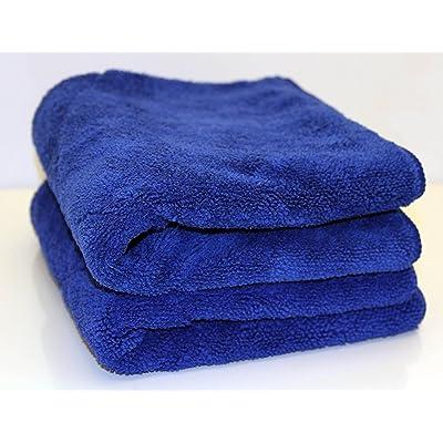 """UTowels' Ultra Plush Thick Microfiber Auto Detailing Towel - 15"""" x 24"""" - 560 GSM (2pcs, Blue): Automotive"""