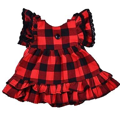 5c5fe202553d Amazon.com: Girls Buffalo Check Plaid Dress Christmas Party Dresses ...