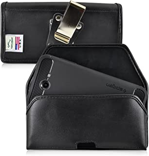 product image for Turtleback Belt Case Made for Samsung Galaxy J7 2017 Prime, Perx, Halo with Slim case Black Holster Leather Pouch with Heavy Duty Rotating Ratcheting Belt Clip Horizontal Made in USA
