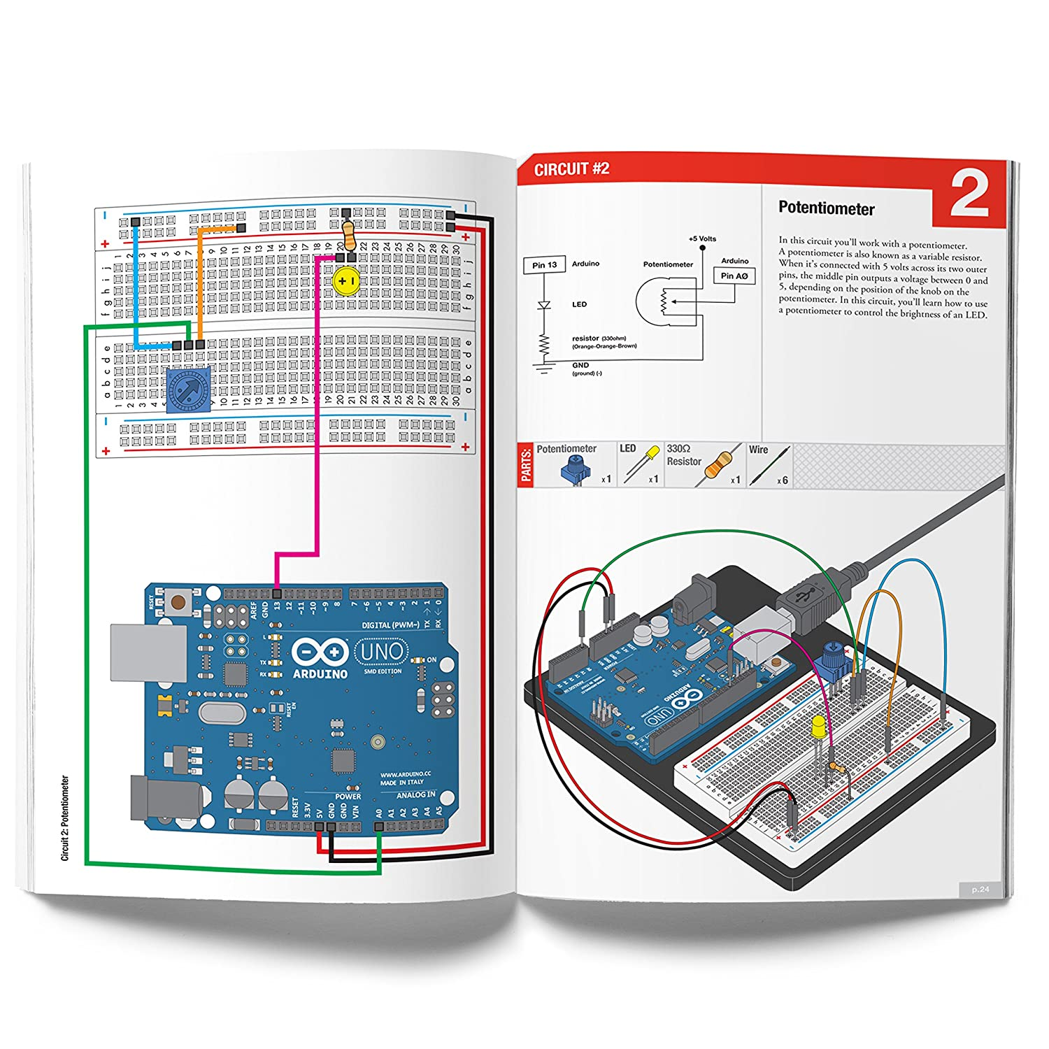 Vilros Arduino Uno 3 Ultimate Starter Kit Includes 12 For A 10k Potentiometer Wiring Diagrams Circuit Learning Guide Computers Accessories