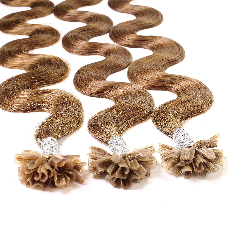 Hair2Heart 25 x 1g Extensiones de Queratina - 40cm - Corrugado, Color 8 Bronceado: Amazon.es: Belleza