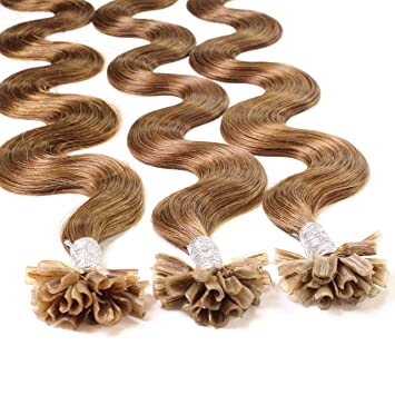 Hair2Heart 25 x 1g Extensiones de Queratina - 40cm - Corrugado, Color 8 Bronceado: Amazon.es: Belleza