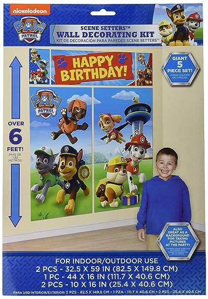 Amazon Amscan Paw Patrol Scene Setters Wall Decorating Kit Birthday 12 Ct Toys Games
