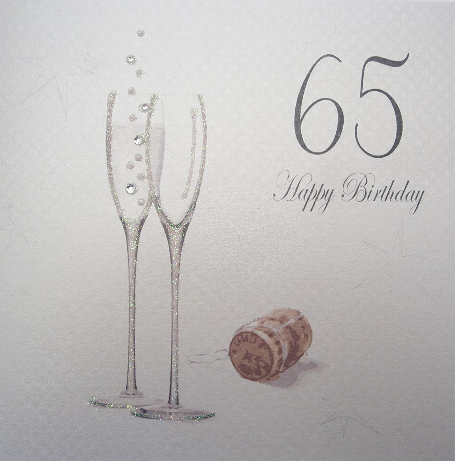 Amazon White Cotton Cards Champagne Flutes 65 Happy Birthday Handmade 65th Card Computers Accessories