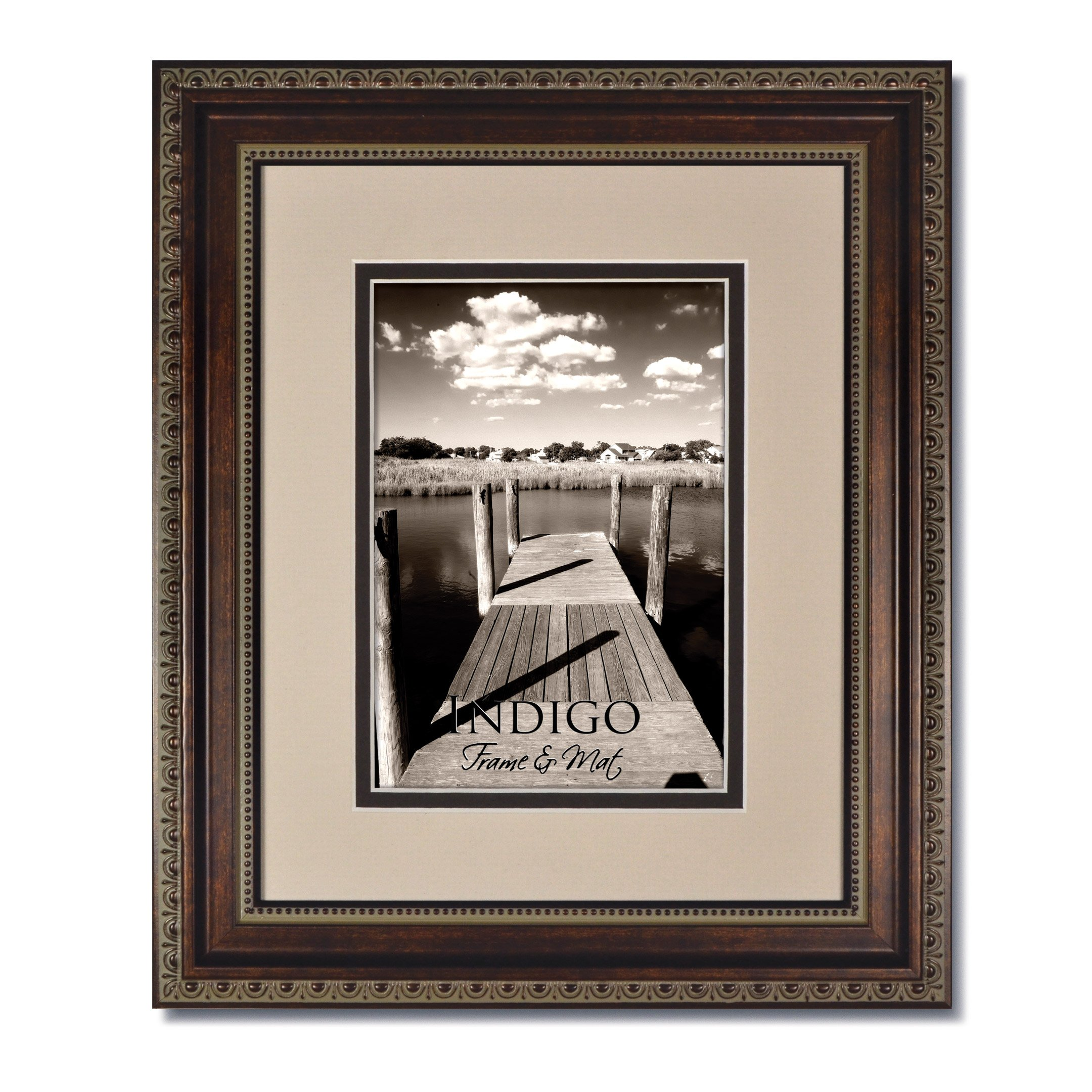 Set of 3 - 16x20 Ornate HeritageBronze Photo Frame with Clear Glass and Oyster/Espresso Double Mat for 11x14