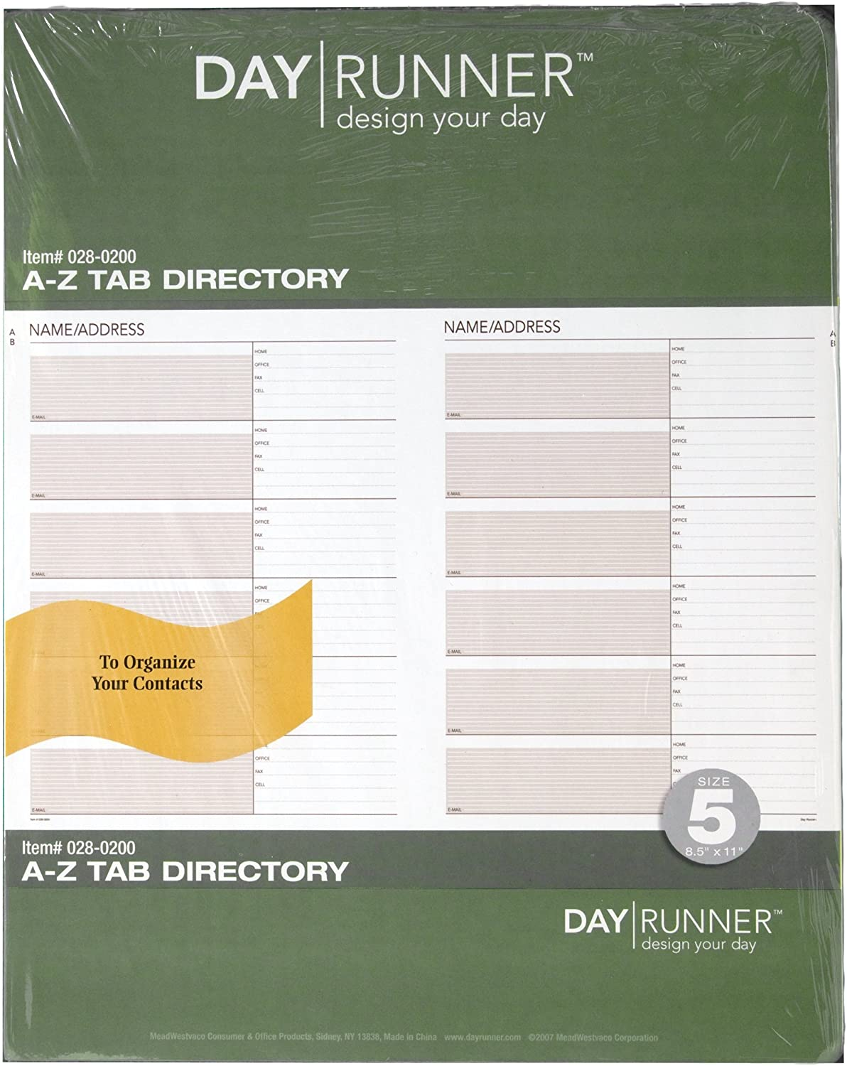 Day Runner Undated Planner Telephone and Address A–Z Tabs, 8.5 x 11 Inches (028-0200)