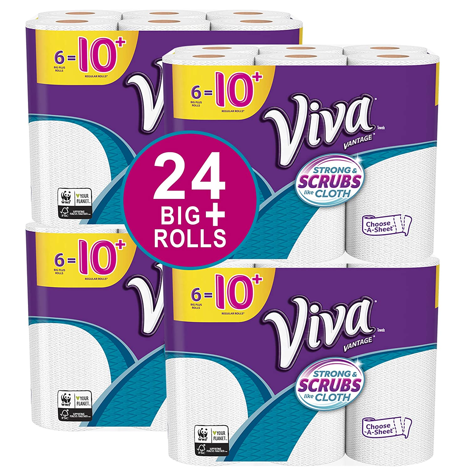 VIVA Vantage Choose-A-Sheet* Paper Towels, White, Big Plus Roll, 24 Rolls, Packaging May Vary Kimberly-Clark Corp. 10036000470458