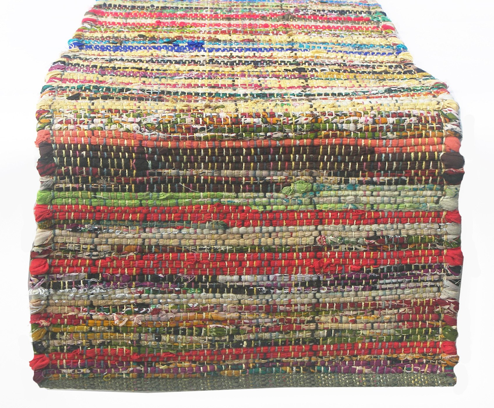 Chardin home Eco friendly Rainbow Multi Chindi Table Runner, 13'' W x 72'' L by Chardin home