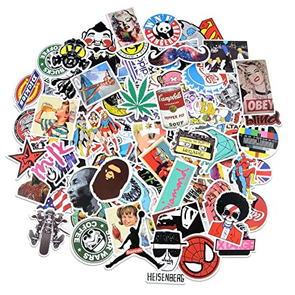 Breezypals 100 pcs waterproof vinyl stickers for laptop car skateboard luggage