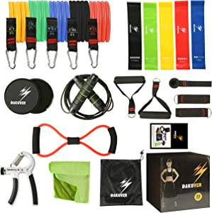 BAKOVEN Exercise Resistance Bands with Handles and Accessories - The Ultimate Home Gym Resistance Band System, 23 pcs Workout Set with Door Anchor - Stackable up to 150 Lbs of Resistance
