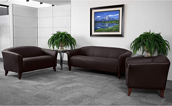 Amazon Com Flash Furniture Hercules Imperial Series Reception Set In Brown Leathersoft Furniture Decor