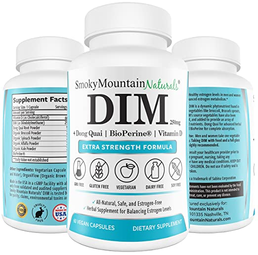 Product thumbnail for DIM Supplement 250mg Plus BioPerine