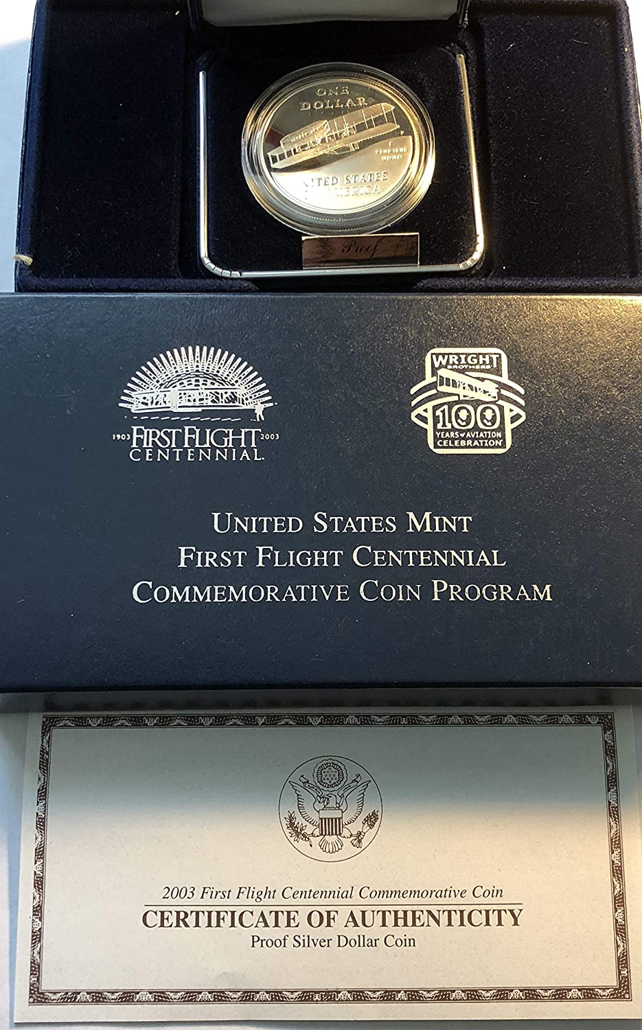 2003 First Flight PROOF commemorative silver dollar with box /& coa.