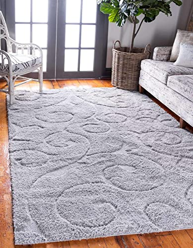 Unique Loom Floral Shag Collection Soft Plush Modern Floral Vines Gray Area Rug 4' 0 x 6' 0