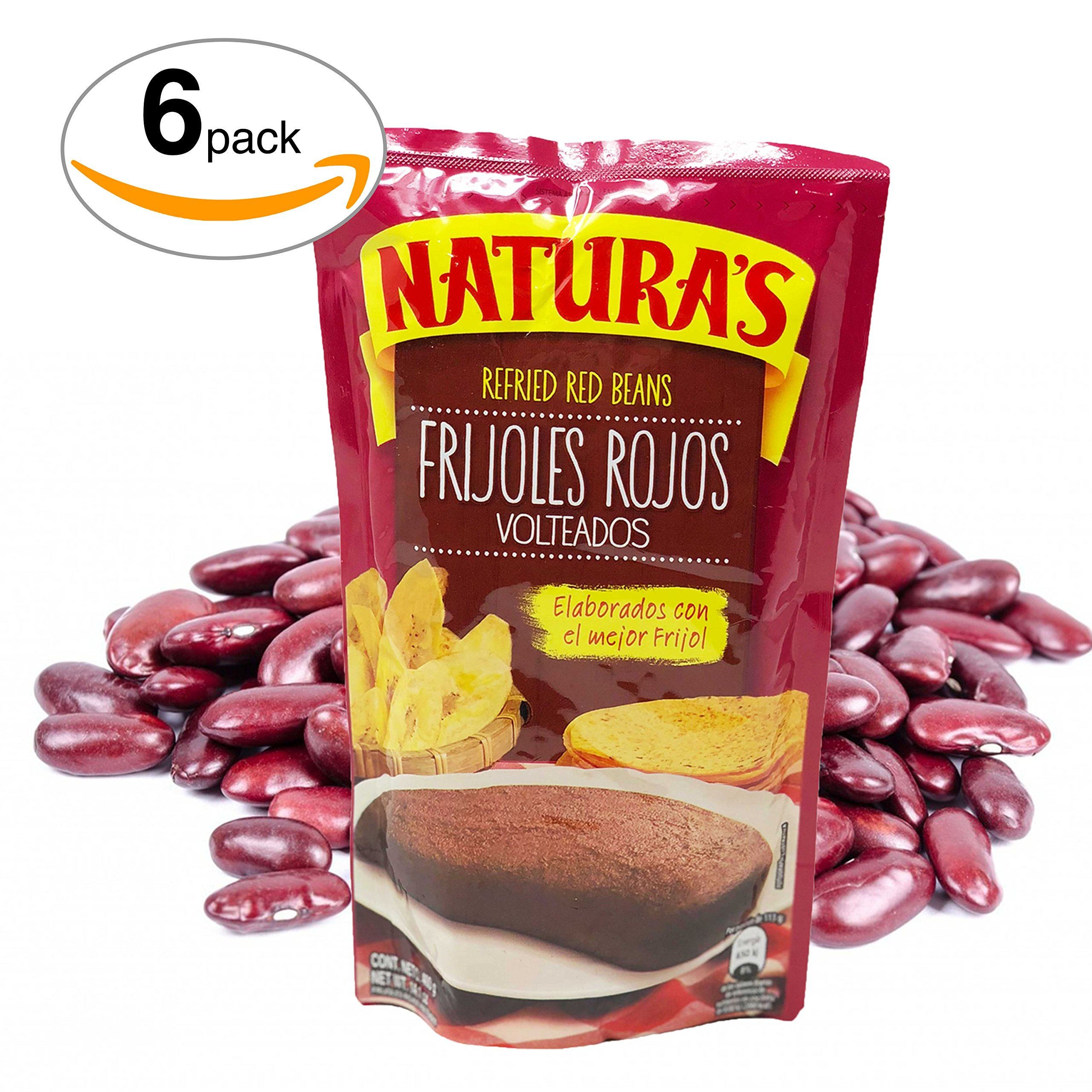 Naturas Refried Red Kidney Beans. Frijoles Rojos Volteados | 100% Plant Based | Ready To Serve| Made With Ground Beans of Beans|No Preservative,No Artificial Colors|100% Natural(800g,28.2 oz)6Pack by NATURA'S