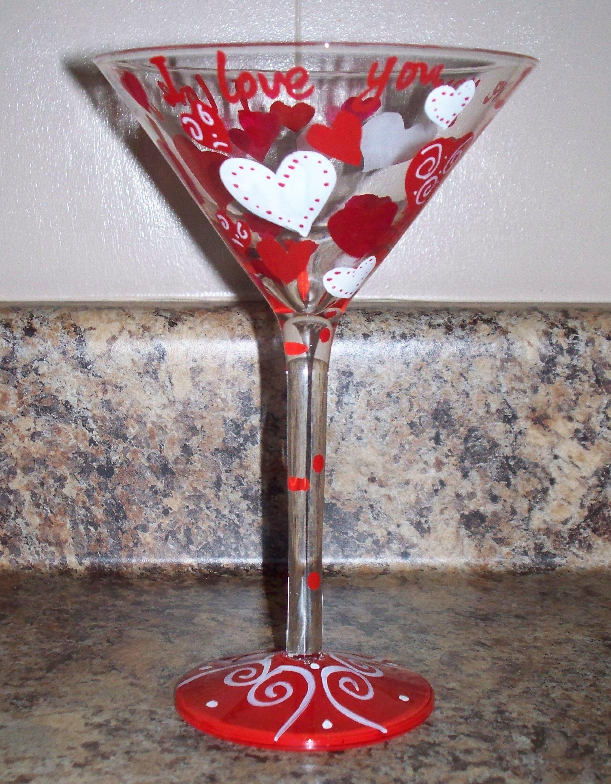 ''I Love You'' 7oz. Hand Painted Martini Glass