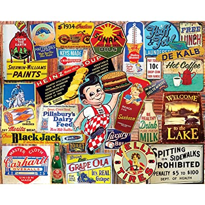 White Mountain Puzzles Vintage Signs - 1000 Piece Jigsaw Puzzle: Toys & Games