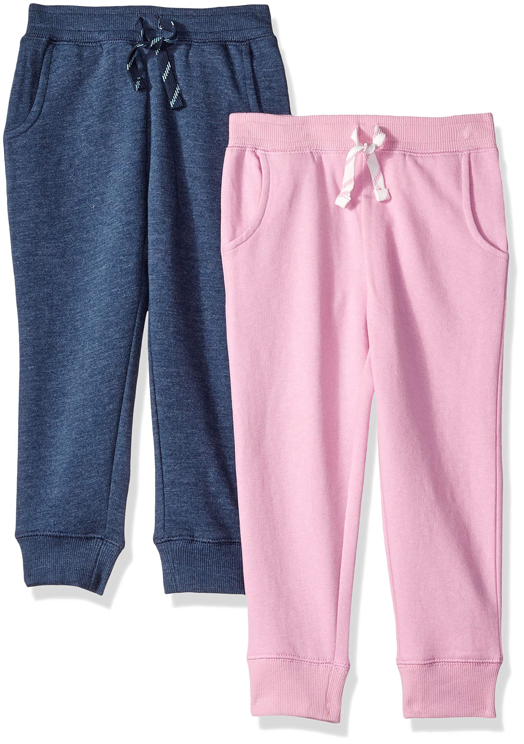 Amazon Brand - Spotted Zebra Girls' Big Kid 2-Pack Fleece Jogger Pants, Grey/Pink, Large (10)