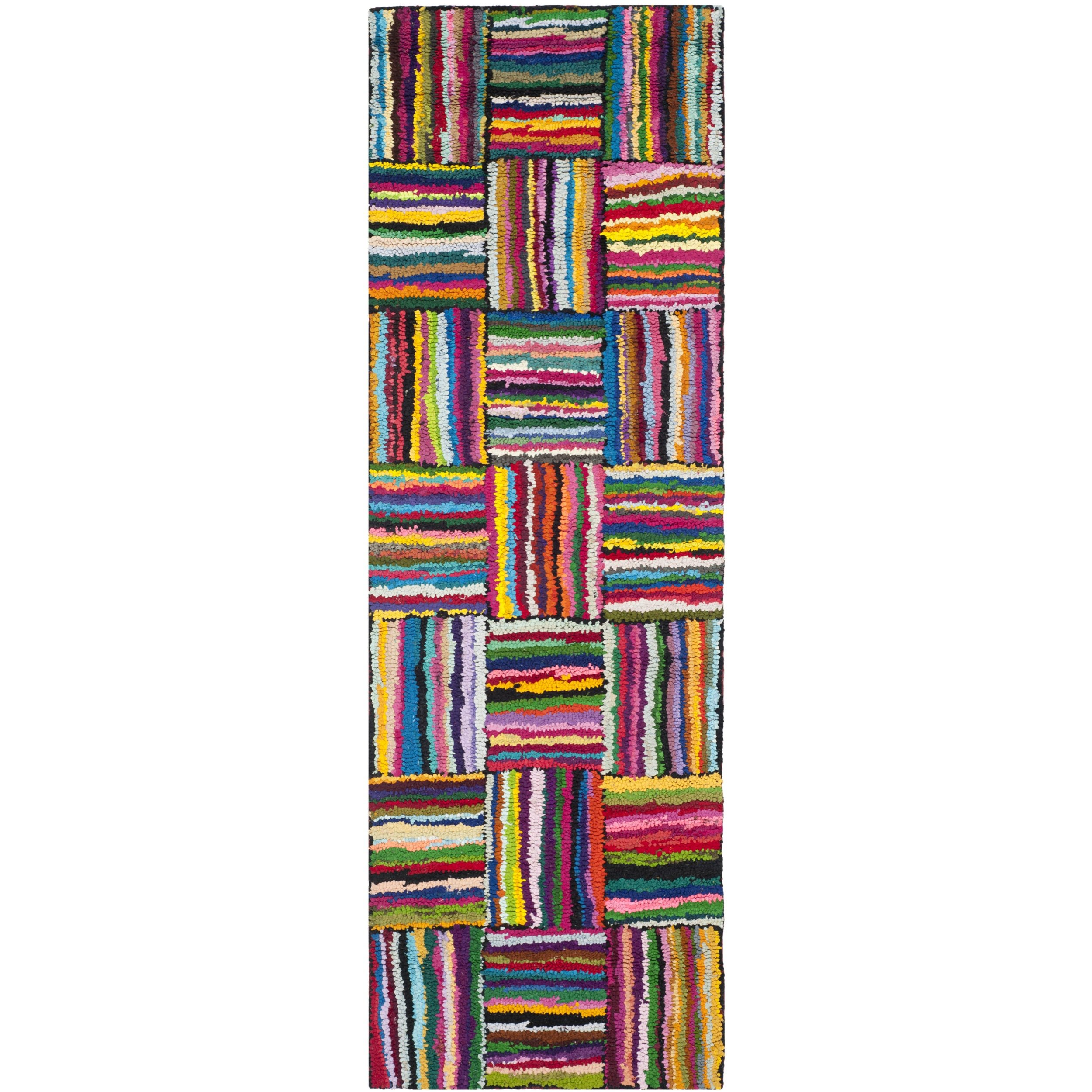 Safavieh Nantucket Collection NAN318A Handmade Abstract Multicolored Cotton Runner Rug (2'3'' x 13') by Safavieh