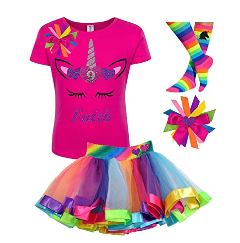8c163753 Amazon.com: 9th Birthday Unicorn Shirt Rainbow Tutu Outfit Girls 4PC Gift  Set Personalized Name: Handmade